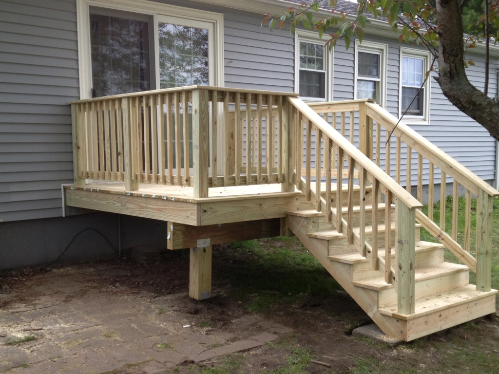 Custom decks porches ac wood berkshire country contracting for Building a front porch deck
